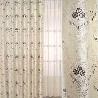 Рогожка-фукра бежевая светлая с люрексом с коричневыми цветами и завитками ш.280