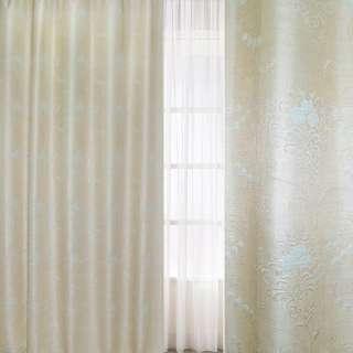 Рогожка-фукра бежевая светлая с люрексом с бледно-голубыми цветами и завитками ш.280