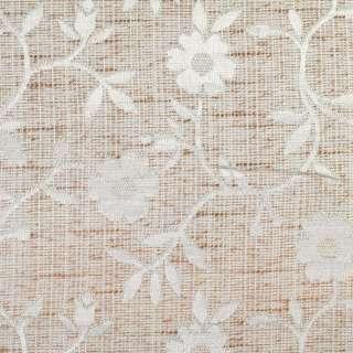 Рогожка жаккард для штор цветы белые на молочно-коричном фоне, ш.280