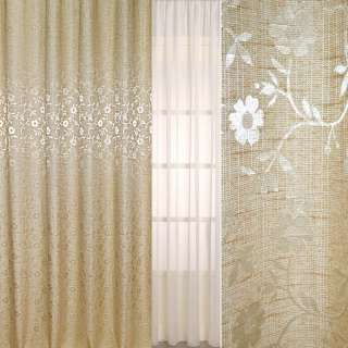 Рогожка жаккард для штор цветы белые на бежевом светлом фоне, ш.280
