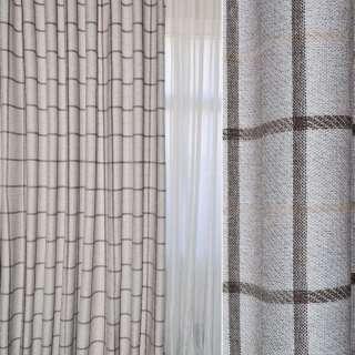 Рогожка портьерная серебристая в коричнево-бежевые квадраты ш.280