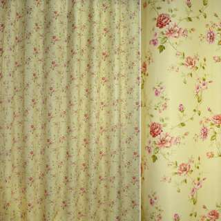 Блэкаут сливочный с разноцветными веточками цветов ш.275
