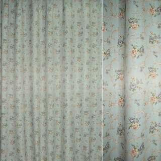 Блэкаут оливково-серый с бежево-серыми цветами и завитками ш.275