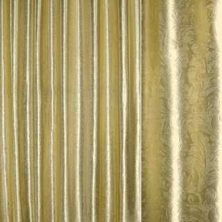 """Блэкаут атлас золото светлое крупный """"испанский дворик"""", ш.280"""