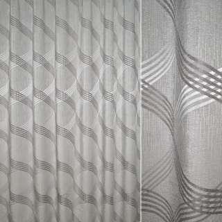 Шенилл жаккард для штор овалы пересекающиеся на сером светлом фоне, ш.270