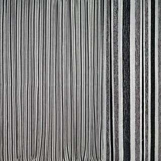 Шенилл портьерный молочный в серые, черные полоски с люрексом ш.280
