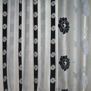 Шенилл портьерный молочный в серые, черные полоски с цветами ш.280