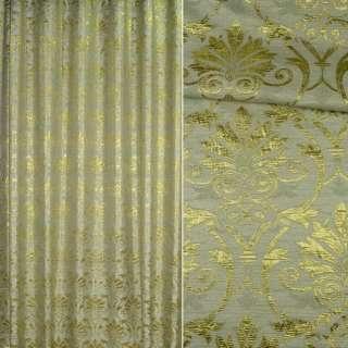 Шенилл жаккардовый зеленый с золотым рисунком, ш.280
