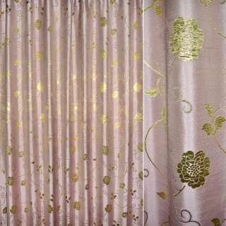 Шенилл жаккардовый розовый с золот.цветами и веточ, ш.280