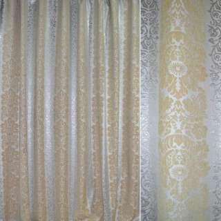 Шенилл жаккард с метанитью орнамент цветы серебристые, песочные, ш.275