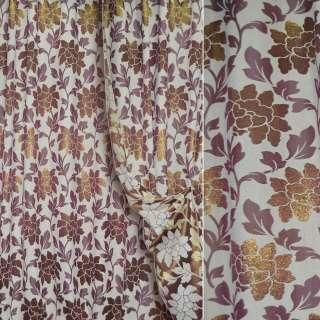 Шенилл жаккардовый с метанитью молочный в вишневые цветы и листья ш.280