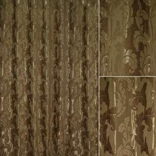 Шенилл фукра для штор листья аканта шоколадный, ш.280