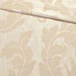 Шенилл фукра для штор листья аканта песочный, ш.280