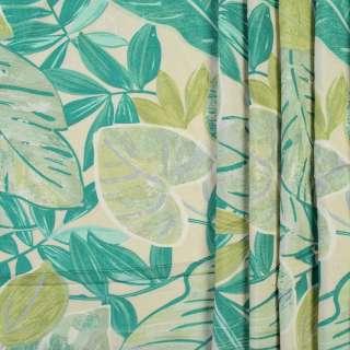 Коттон портьерный кремовый в зеленые и салатовые листья, ш.280
