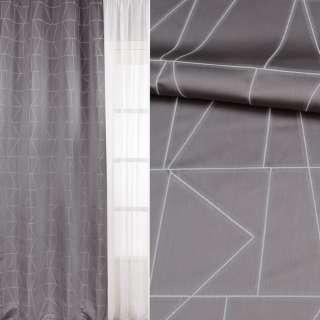 Жаккард атласный для штор узор геометрический белый на сером фоне, ш.143