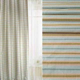 Жаккард атласный для штор полосы размытые синие, зеленые, бежевые, ш.142