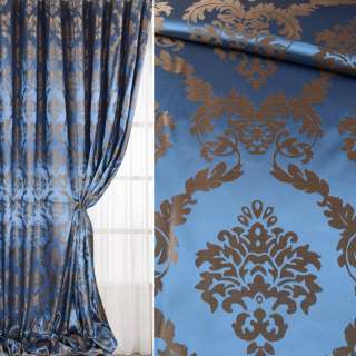 Атлас жаккард 2-х-стор. для штор вензель сине-коричневый, ш.320