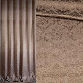 Жаккард для штор вензель флористический на бронзовом фоне, ш.296