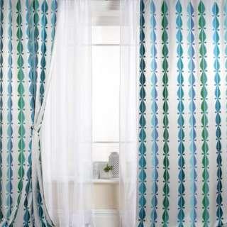 Атлас для штор вышивка волны капли голубые, синие, зеленые на белом фоне, ш.147