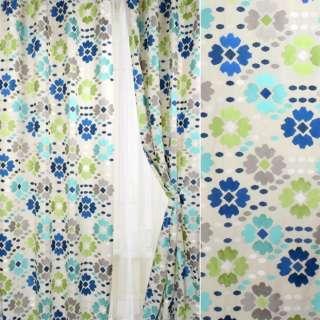 Шелк для штор вышивка цветы, овалы бирюзовые, серые, салатовые на молочном фоне,  ш.150