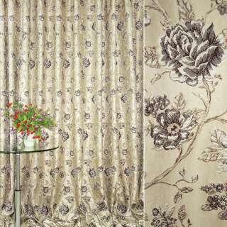 Жаккард портьерный бежевый светлый с темно-коричневыми розами ш.280