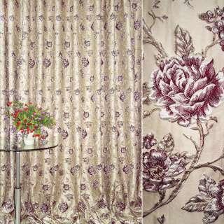 Жаккард портьерный бежевый светлый с вишневыми розами ш.280