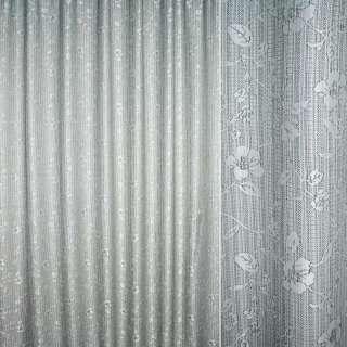 Рогожка жаккард для штор цветы вьющиеся зеленая, ш.270