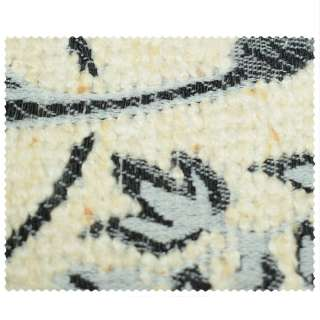 Жаккард мебельный молочная с серо-черными цветами