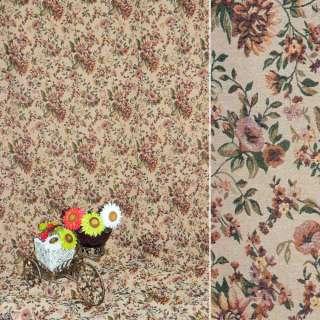 Гобелен песочный с бордово-желтыми цветами ш.200