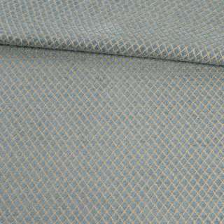 Шенилл жаккард мебельный ромбы золотистые на бирюзово-сером фоне, ш.143