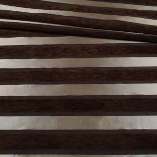 Шенилл мебельный полоски шелковые серебристые на коричневом фоне, ш.143