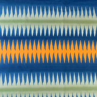 Ткань скатертная в синюю, зеленую, оранжевую полоску-зигзаг, ш.150