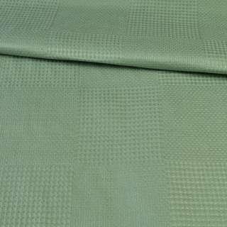Рогожка деко зеленая в вафельную клетку, ш.145