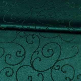 жаккард скатертный завитки зеленый темный, ш.320