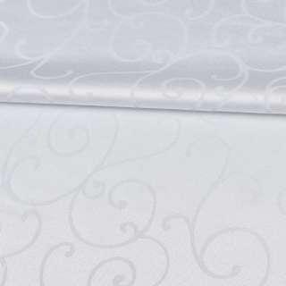 Жаккард скатертный завитки белый, ш.320