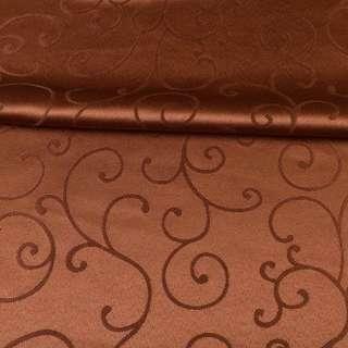 Жаккард скатертный завитки коричневый, ш.320