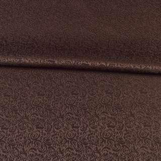 Жаккард скатертный мелкие цветки коричневый, ш.320