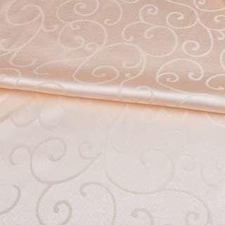 Жаккард скатертный завитки персиковый светлый, ш.320