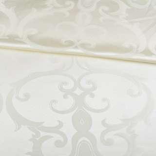 Жаккард скатертный крупные завитки молочный, ш.320