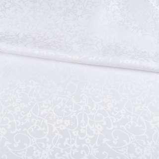 жаккард скатертный цветы, ветки белый, ш.320