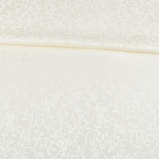 Жаккард скатертный цветы, ветки молочный, ш.320