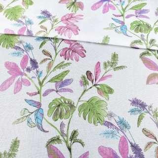 Рогожка белая в зеленые и сиреневые листья, ш.280