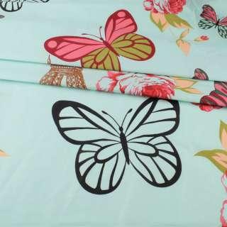 Бязь набивная мятная, бабочки, цветы, Эйфелева башня, ш.220