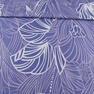 Бязь набивная фиолетовая, сиреневые листья, цветы, ш.220