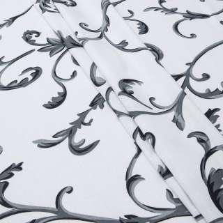 Бязь набивная белая в серые завитки ш.220