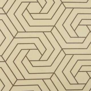 Бязь набивная бежевая, коричневые шестиугольники, ш.220