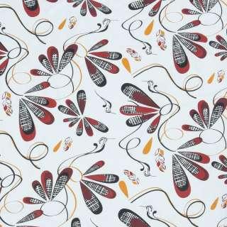 Бязь набивная белая, черно-красные птицы, перышки, ш.220