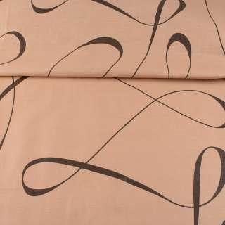 Бязь набивная бежевая, коричневые ленты, ш.220