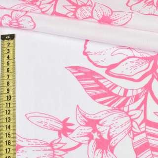 Бязь набивная белая в розовые цветы (хлопок 100%), ш.220