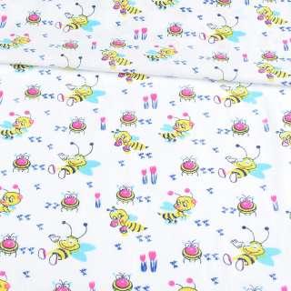 Ситец белый детский с пчелками, ш.90